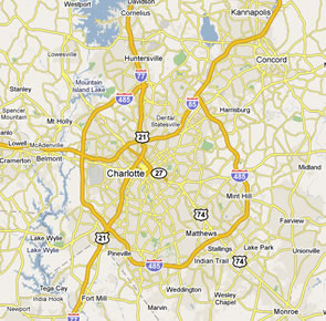 dumpster service map, Charlotte, North Carolina